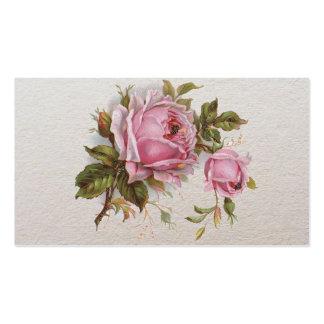 Elegant Pink Girly Vintage Cute Rose Business Card