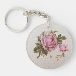 Elegant Pink Girly Vintage Cute Rose Keychain