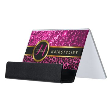 Professional Business Elegant Pink Glitter and Leopard Skin Desk Business Card Holder