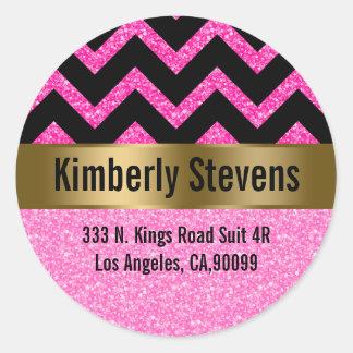 Elegant Pink Glitter Black Chevron Gold Accents Classic Round Sticker