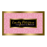 Elegant Pink Glitter Gold & Black Accents Double-Sided Standard Business Cards (Pack Of 100)