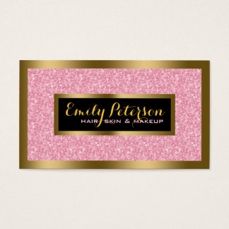 Elegant Pink Glitter Gold & Black Accents Business Card