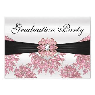 Elegant Pink Glitter Graduation Party Card