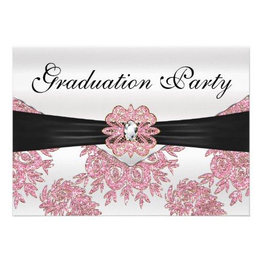 Elegant Pink Glitter Graduation Party Invites