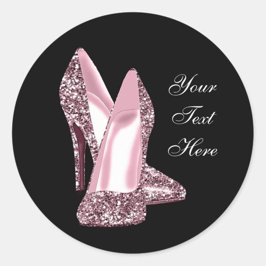 Elegant Pink Glitter High Heel Shoe Classic Round Sticker