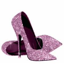 Elegant Pink Glitter High Heel Shoes Statuette