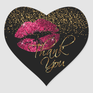 Elegant Pink Glitter Lipcolor - Thank You Heart Sticker