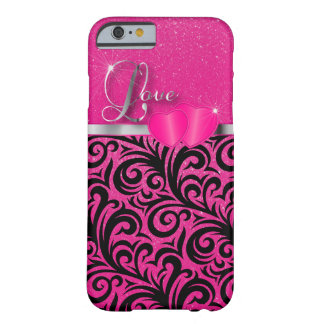 Elegant Pink Glitter Love Barely There iPhone 6 Case