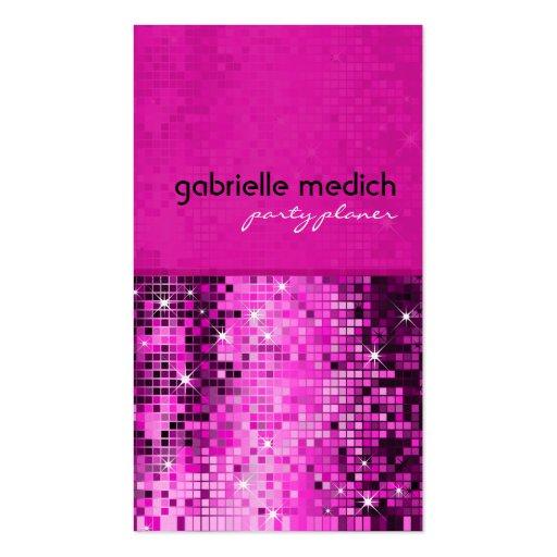 Elegant Pink Glitter Metallic Sequence Pattern Business Cards