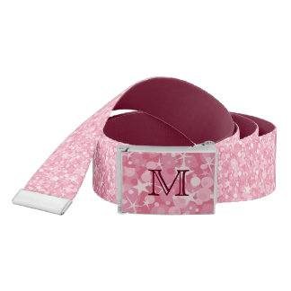 Elegant Pink Glitter Monogram Belt
