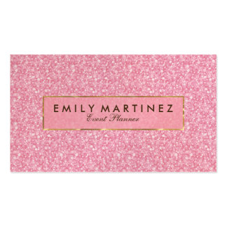 Elegant Pink Glitter& Sparkles Gold Accents Business Card