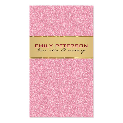 Elegant Pink Glitter With Gold Accents Business Card