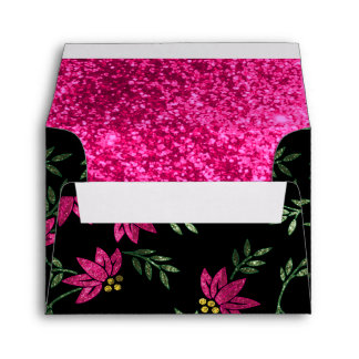 Elegant Pink Glittery Flower Envelopes