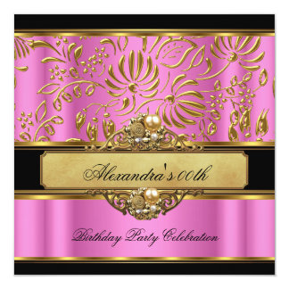 Elegant Pink Gold Black Damask Pearl Party Card