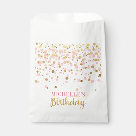 Elegant Pink Gold Glitter Confetti Birthday Favor Bag
