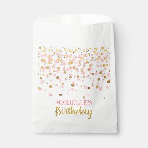 Elegant Pink Gold Glitter Confetti Birthday Favor Bag