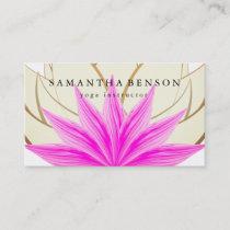 Elegant Pink & Gold Lotus Flower Logo Yoga Business Card