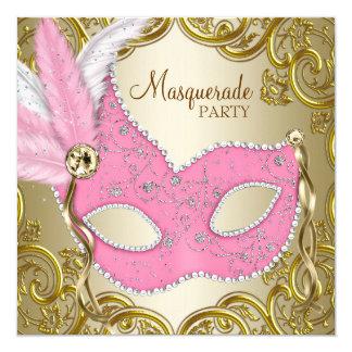 Elegant Pink Gold Mask Masquerade Party Card