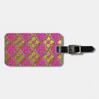 Elegant Pink & Gold Metallic Floral Bag Tag