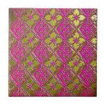 Elegant Pink & Gold Metallic Floral Ceramic Tile