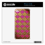 Elegant Pink & Gold Metallic Floral Decal For The iPhone 4S