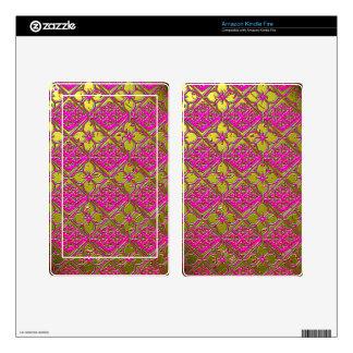 Elegant Pink & Gold Metallic Floral Skins For Kindle Fire