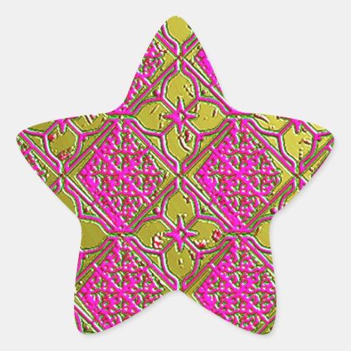 Elegant Pink & Gold Metallic Floral Star Stickers