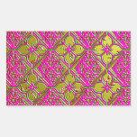 Elegant Pink & Gold Metallic Floral Rectangular Stickers