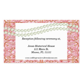 Elegant Pink, Gold, & Pear Wedding enclosure cards Business Card