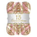Elegant Pink Gold Pearl Damask Quinceanera Card