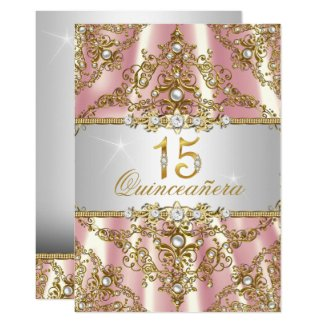 Elegant Pink Gold Pearl Damask Quinceanera Invite