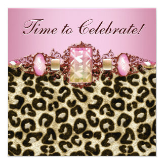 Elegant Pink Gold Pink Leopard Birthday Party Custom Announcement
