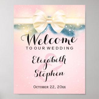 Elegant Pink Gold Ribbon Pines Floral Wedding Sign Poster