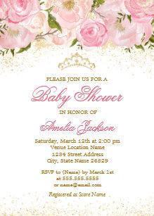 Elegant pink rose baby shower invitations zazzle elegant pink gold rose girl baby shower invitation filmwisefo