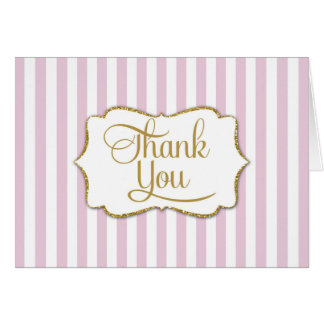 Elegant Pink Gold Stripe Thank You Card