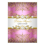 Elegant Pink Gold Vintage Glamour Quinceanera Card