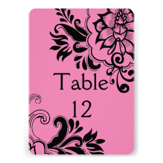 Elegant Pink Graphic Vintage Floral Table card