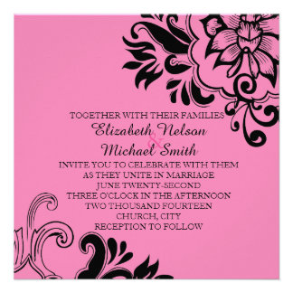 Elegant Pink Graphic Vintage Floral Wedding Invite