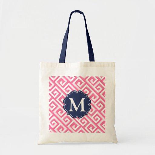 Elegant Pink Greek Key Personalized Canvas Bags