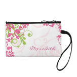 Elegant Pink Green Floral Personalized Coin Wallets