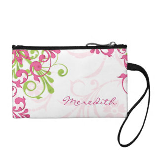 Elegant Pink Green Floral Personalized Coin Wallet