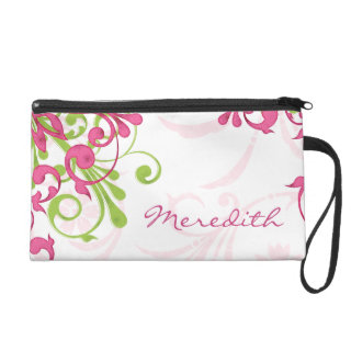 Elegant Pink and Green Floral Personalized Wristlet Purse