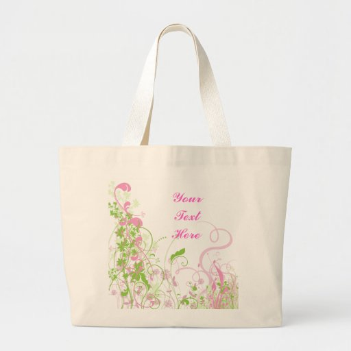 Elegant Pink & Green Florals & Swirls Bags