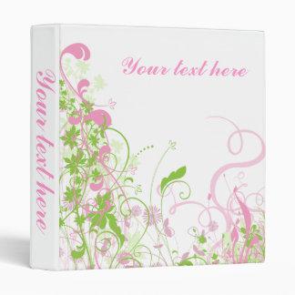 Elegant Pink & Green Florals & Swirls Binders