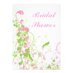 Elegant Pink & Green Florals & Swirls Custom Invitation