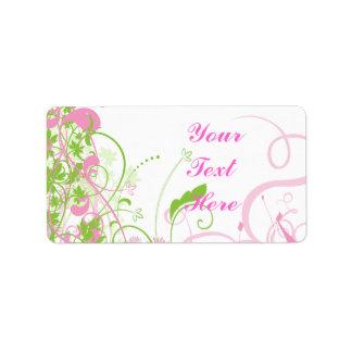 Elegant Pink & Green Florals & Swirls Custom Address Label