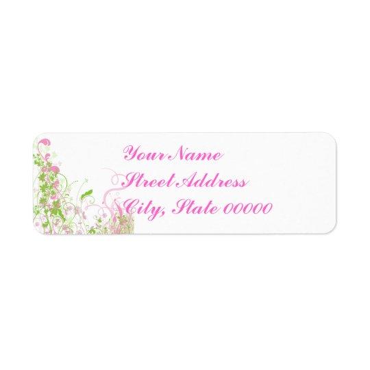 Elegant Pink & Green Florals & Swirls Label
