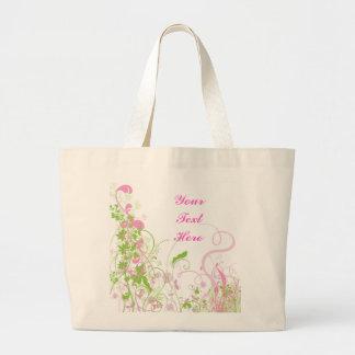 Elegant Pink & Green Florals & Swirls Large Tote Bag