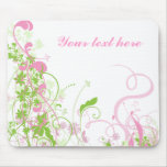 Elegant Pink & Green Florals & Swirls Mouse Pad