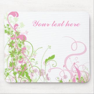 Elegant Pink & Green Florals & Swirls Mouse Pad